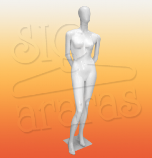 4304 manequim feminino pouse braço para trás branco