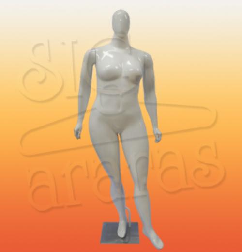 4612 manequim feminino especial com brilho plus size com pouse branca