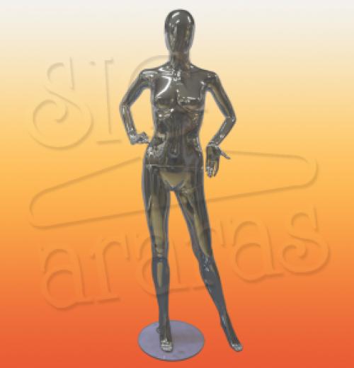 4712 manequim feminino pouse 2 mãos na cintura metalizado