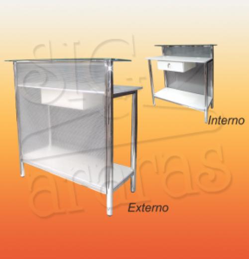 7595 balcão caixa reto cromado com policarbonato L.100cm 300x300