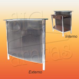 7596 balcão caixa curvo cromado com policarbonato L. 100cm 300x300
