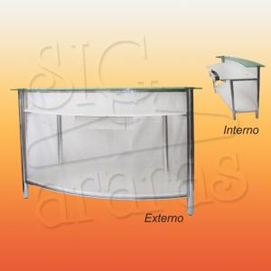 7597 balcão caixa curvo cromado com policarbonato L.150cm 300x300