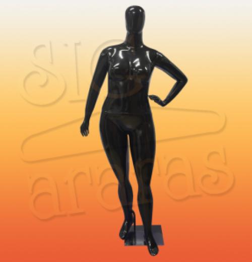 4618 manequim feminino especial com brilho plus size pouse mão cintura preta